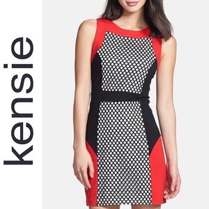 Kensie Mesh Colorblock Ponte Sheath Dress